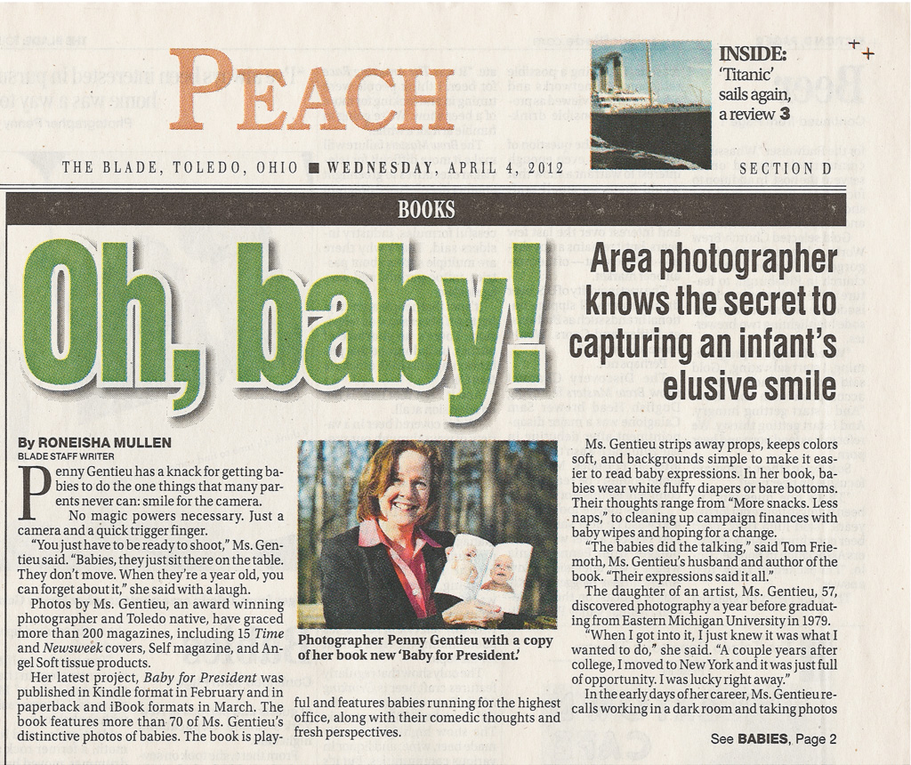 Area photographer knows the secret to capturing an infant's elusive smile. The Blade, April 4, 2012